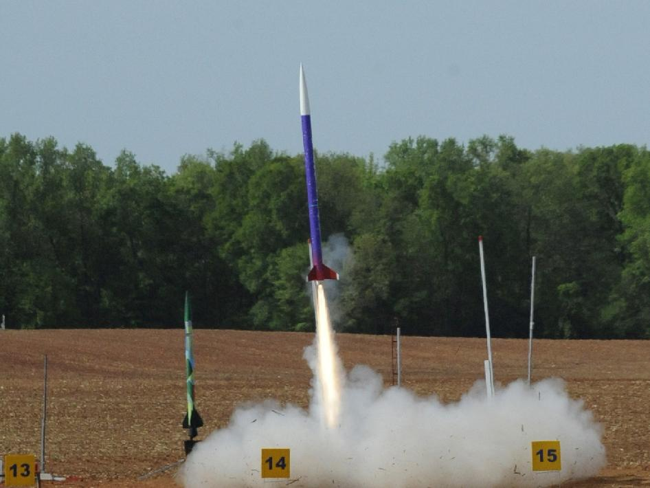 A rocket designed and built by Northwestern University of Evanston, Ill., soars off the launch pad April 21 at the 2012-13 NASA Student Launch Projects challenge.