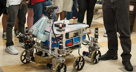A competitor in the 2012 NASA-WPI Sample Return Robot Centennial Challenge.