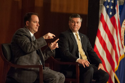 NASA Associate Administrator Robert Lightfoot, left, answers questions from Marshall Center team members at an all-hands meeting May 21 as Marshall Center Director Patrick Scheuermann looks on.