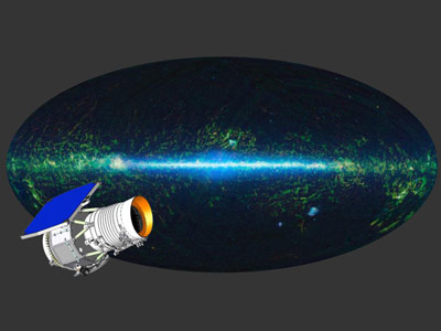 The entire sky as mapped by WISE at infrared wavelengths is shown here, with an artist's concept of the WISE satellite superimposed.