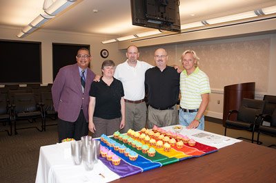 Willie Love, far left, prepares cupcakes and refreshments with, from left, Cindy Coker, Barry Roberts, James Robinson, and Jerry Wells.
