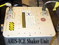 "TOP:Pre-flight image of the ""shaker"" device used to induce known disturbances into EXPRESS Rack 2 to test the Active Rack Isolation System."