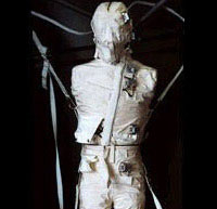 Photo description: The Phantom Torso contains over 350 radiation measuring devices to calculate the radiation that penetrates internal organs in space travel.