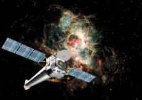 Photo shows an artist concept of the Chandra X-ray Observatory.