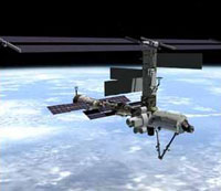 Photo description: Artist's concept of the International Space Station after flight 7A, which delivers the U.S. airlock in 2001.