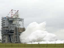 Steam blasts out of the A-2 Test Stand at Stennis Space Center.