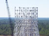Workers are completing the final two stages of structural steel work on the A-3 Test Stand at Stennis space Center.