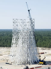 Work to erect 4 million pounds and 16 stages of fabricated structural steel at the A-3 Test Stand site at Stennis Space Center was completed in early April.