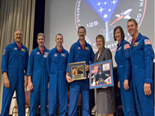 Astronauts from the STS-125 mission to repair the Hubble Space Telescope.