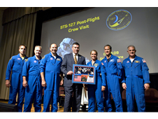Members of the STS-127 shuttle mission visited Stennis Space Center on Sept. 10 to share with site employees details of their July visit to the International Space Station.