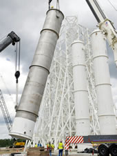 A 35,000-gallon isopropyl alcohol tank is installed at the A-3 Test Stand under construction at Stennis Space Center.