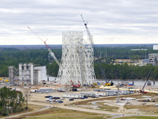 The A-3 Test Stand site at NASA's John C. Stennis Space Center is a busy place as work progresses on several fronts.