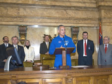 Astronaut Danny Olivas (center) speaks to members of the Mississippi House of Representatives in chambers during NASA Day at the Capitol in Jackson on Jan. 6.