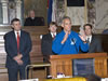 Astronaut Danny Olivas (center) speaks to members of the Mississippi Senate in chambers during NASA Day at the Capitol in Jackson on Jan. 6.