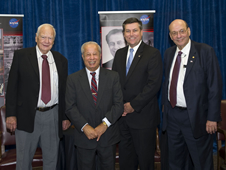 Stennis Space Center Director Patrick Scheuermann (second from right) stands with Legends Lecture Series presenters George Hopson (l to r), Jerry Hlass and J.R. Thompson.