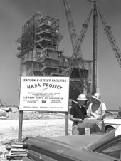 An April 30, 1965 photo shows progress in construction of the A-2 Test Stand at what then was known as NASA's Mississippi Test Operations site (now John C. Stennis Space Center).
