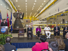SSC Director Patrick Scheuermann (left) addresses visitors gathered for the official transfer of former Mississippi Army Ammunition Plant facilities to NASA.