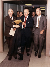 Jackson Balch (left) with Sen. John C. Stennis (center) and the NASA Acting Administrator George Low at the Mississippi Test Facility.