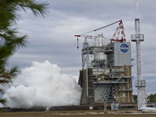 NASA conducted a successful 500-second test of its new upper-stage rocket engine Nov. 9 at John C. Stennis Space Center.