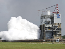 Testing the J-2X rocket engine at Stennis Space Center, this will serve as the upper-stage engine for NASA's new Space Launch System.