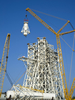 A 35,000-gallon liquid oxygen tank is installed atop the A-3 Test Stand.