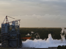 A burst of flame from a J-2X Powerpack test-firing lights up the sky on Dec. 5, 2012 at NASA's Stennis Space Center in Mississippi.