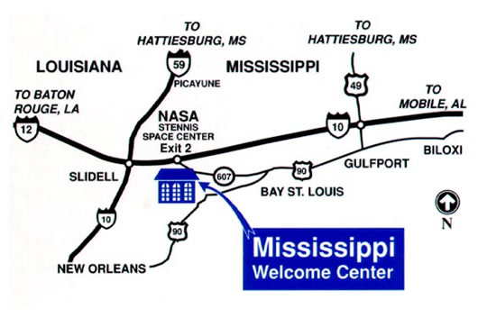 Highway map showing location of SSC between I-10 and I-59 in Mississippi