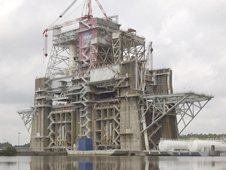 The B1, B2 Test Stand is a dual position, vertical, static firing structure built at NASA's John C. Stennis Space Center in the 1960s.
