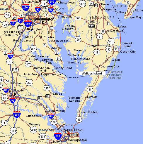 Road Map of Eastern Shore