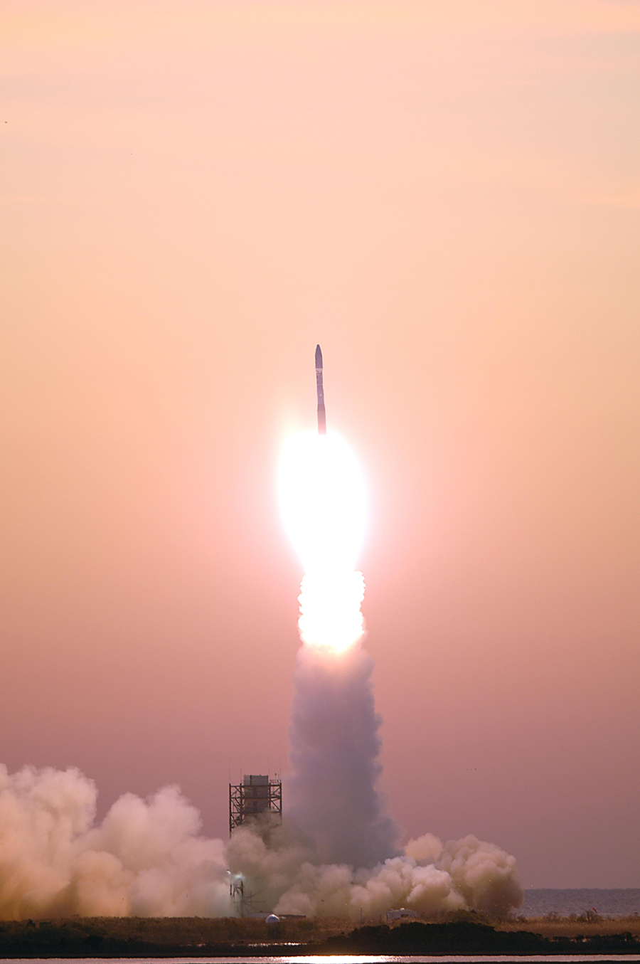 A Minotaur I Rocket launching from NASA Wallops Flight Facility on December 16, 2006. Photo Credit: NASA