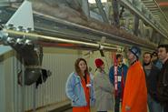 Students check out the Icarus rocket on the launch rail.