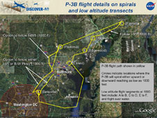 A map showing P-3B flight details for the DISCOVER-AQ mission.