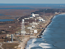 Aerial view of Wallops Island launch range from the South