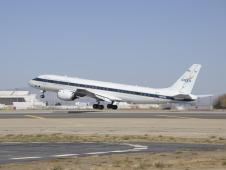 NASA's DC-8 lifts off from Dryden Aircraft Operations facility in Palmdale, California.