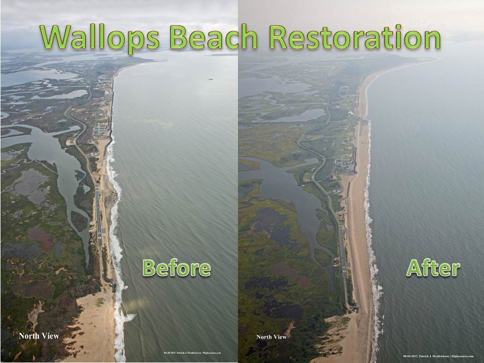Wallops beach before and after
