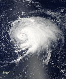 visible satellite image of hurricane Leslie