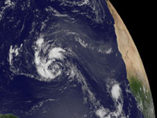 visible light image of Tropical Depression 14 over the Atlantic