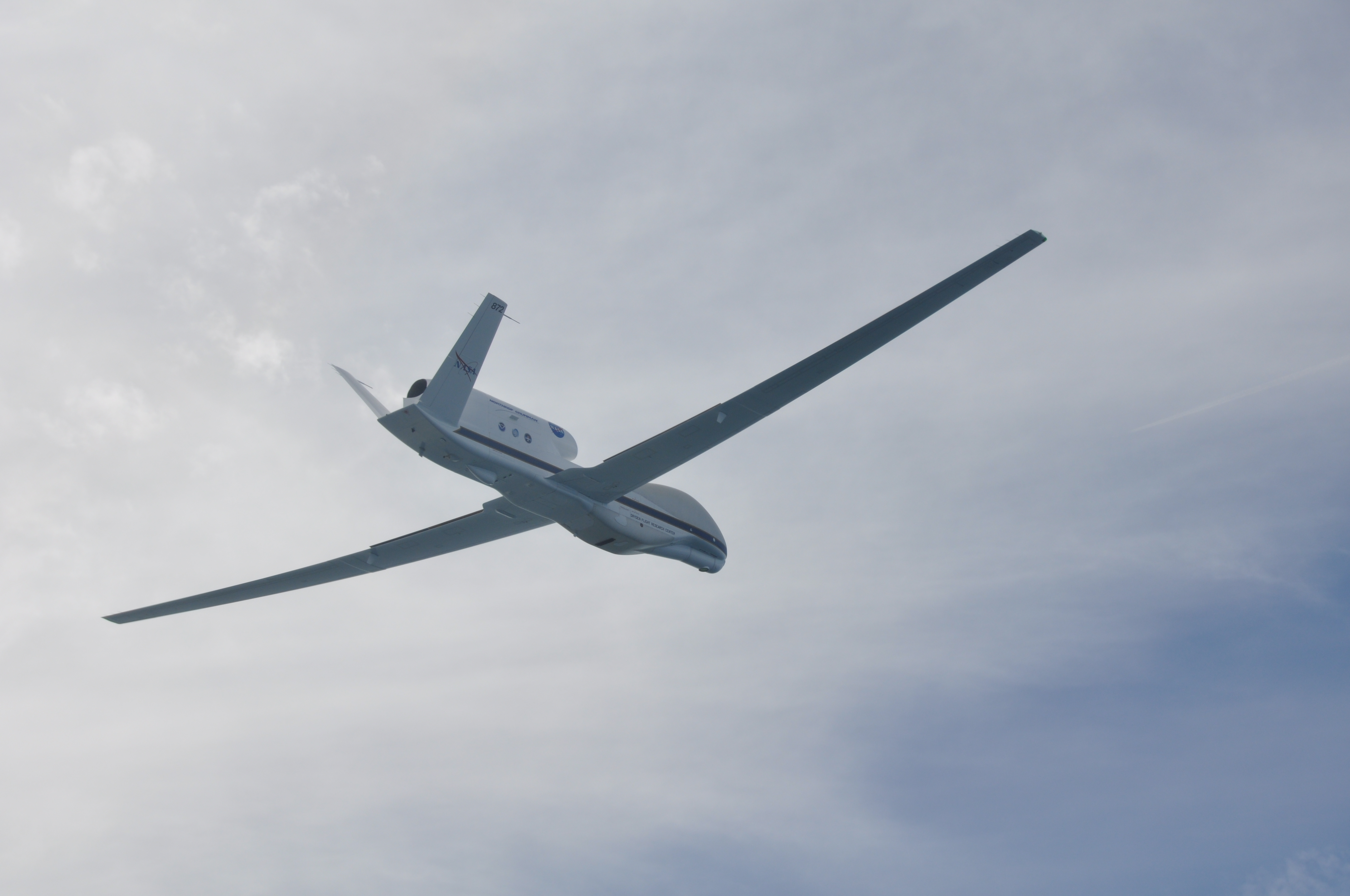 A NASA Global Hawk unmanned aerial vehicle returning to Wallops Flight Facility after a flight over Tropical Storm Nadine.
