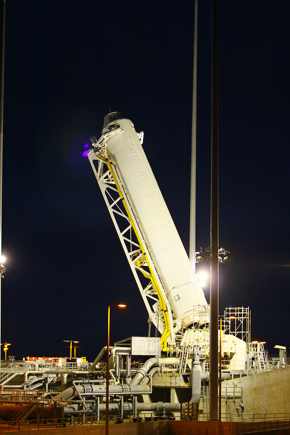 Antares being raised into vertical position.