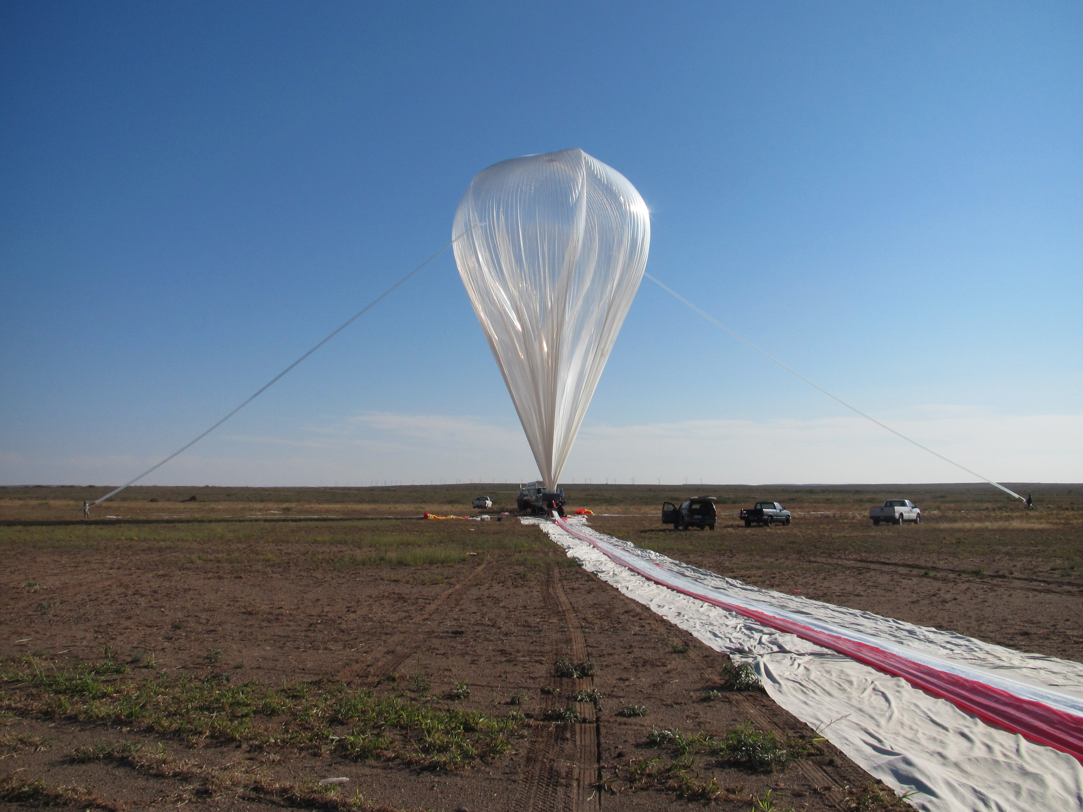 A NASA Scientific Balloon prepares for launch of the ProtoEXIST payload.