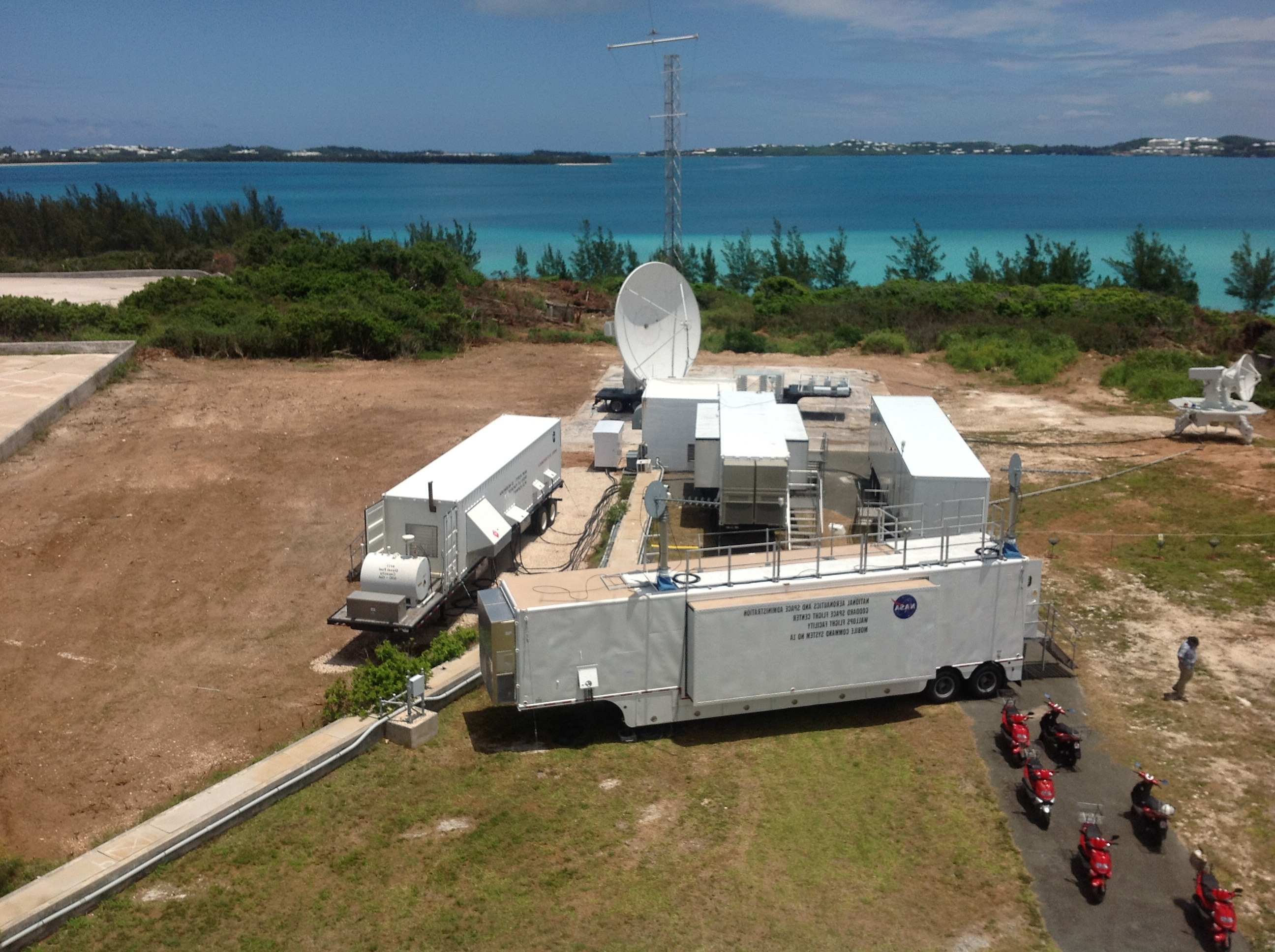 NASA Wallops Flight Facility temporary mobile tracking station in Bermuda.