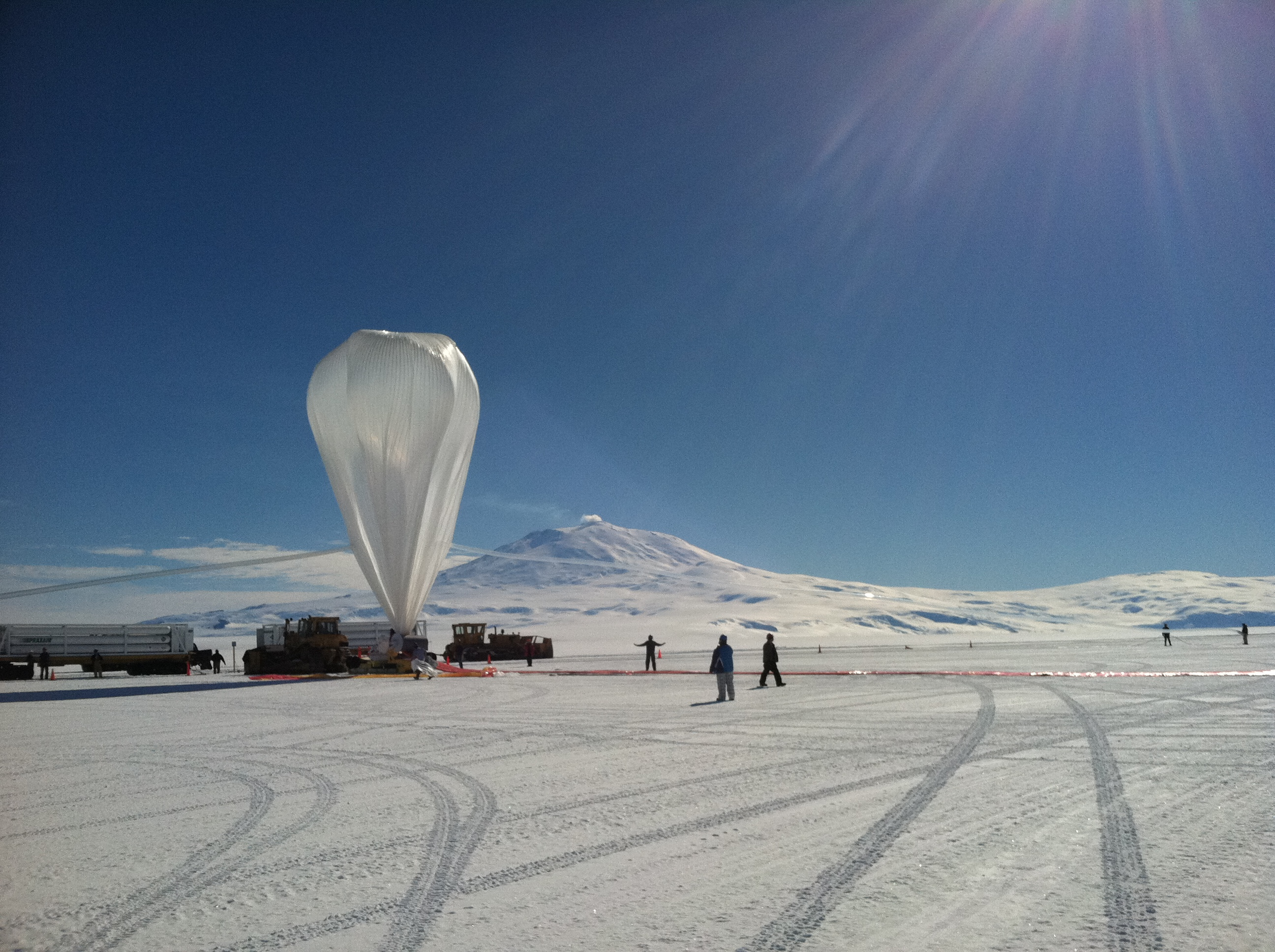 A NASA long duration balloon is prepared for launch in McMurdo Station, Antarctica.