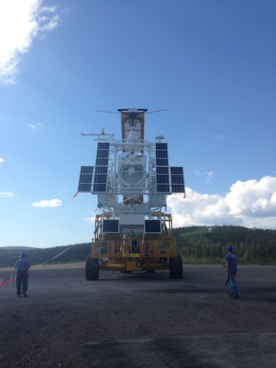 SUNRISE instrument being readied for launch at the Esrange Space Center in Kiruna, Sweden
