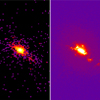 Chandra X-ray (left) and Hubble Space Telescope (right) image of the central region of the active galaxy NGC 4151.