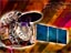 Chandra with the lens up and blue solar panels to the right