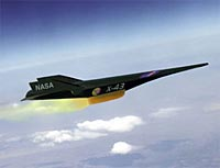 Artist's rendition of the X-43A in flight