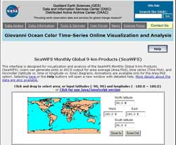 Giovanni provides users with an easy to use, Web based interface for visualization and analysis of ocean color data.