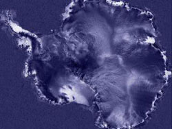 Still from animation showing Larsen ice shelf break up.