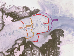 Image of the Jakobshavn Isbrae, the fastest moving glacier in the world and  a major component of the mass balance of the continental ice sheet.