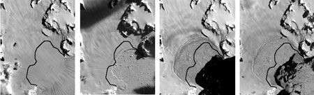 The following Landsat image series from January 2000 to February 2003 illustrates the dynamic relationship between the Larsen B Ice Shelf and the Hektoria Glacier before, during, and after the Larsen break